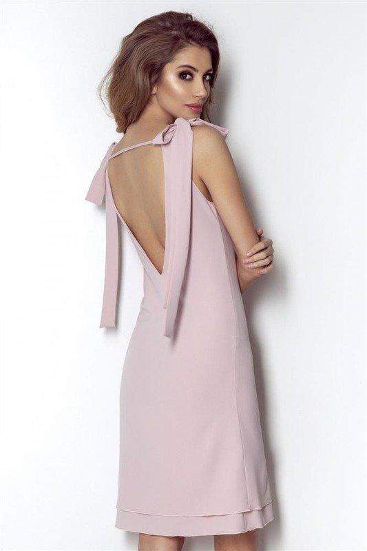 kate krótka wizytowa różowa sukienka bez pleców na imprezę