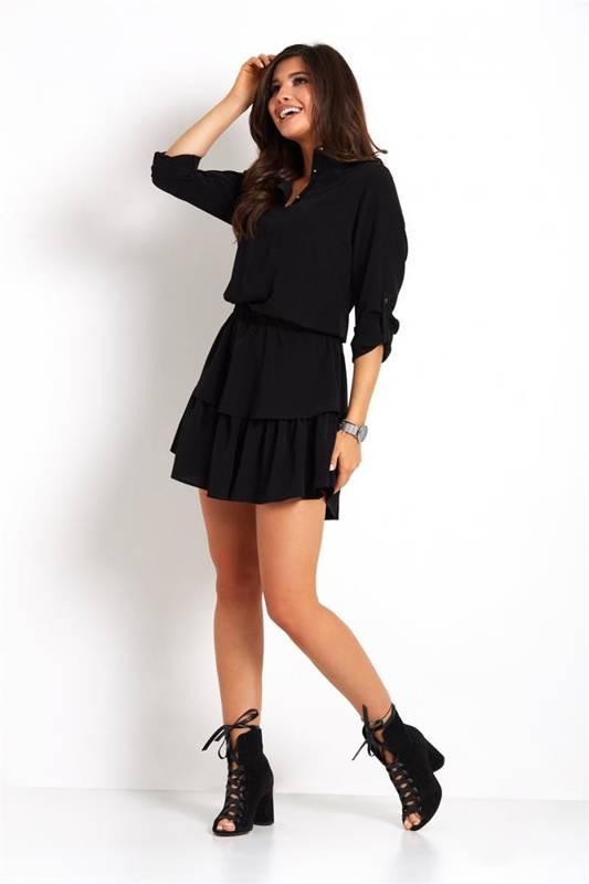 kylie krótka czarna sukienka boho koszulowa z falbanką do pracy