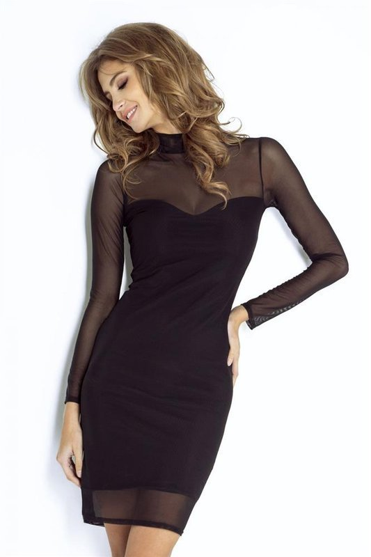 natasha mała czarna wizytowa sukienka z siateczką na studniówkę