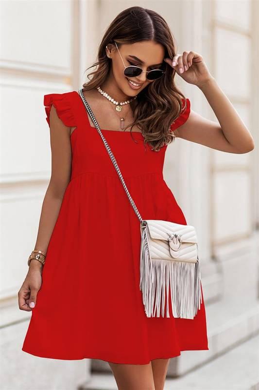 noel czerwona elegancka mini sukienka rozkloszowana do pracy boho