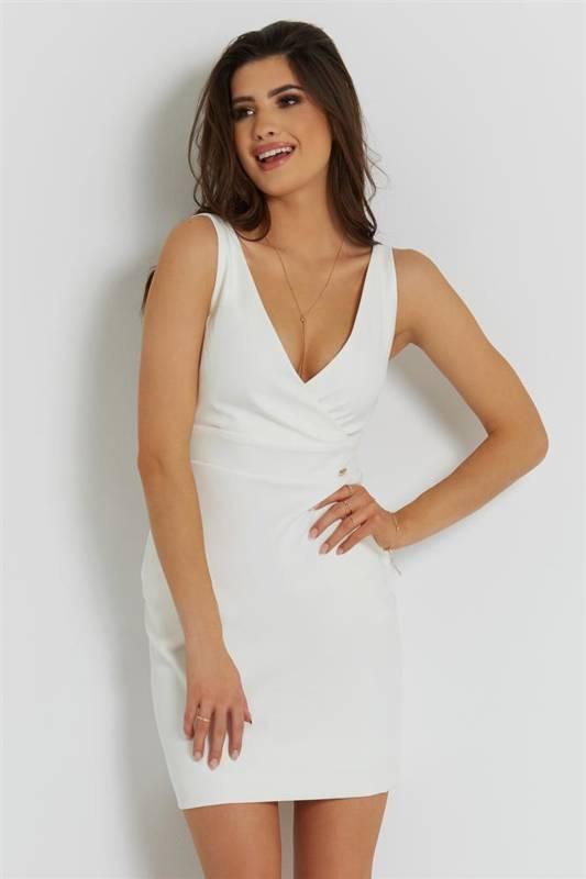 paola śmietankowa wizytowa mini sukienka ołówkowa na ramiączkach