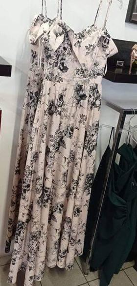Długa Sukienka Elizabeth -beż kwiaty