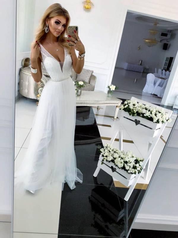 Długa Sukienka GOLD  - biały