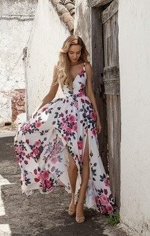 Długa Sukienka NINA  z dwoma rozporkami - kwiaty