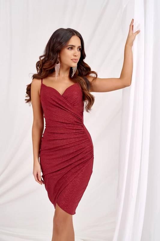 Krótka Sukienka Bella z brokatem- bordowy