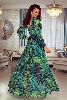 LINDA- Sukienka długa Maxi- liście