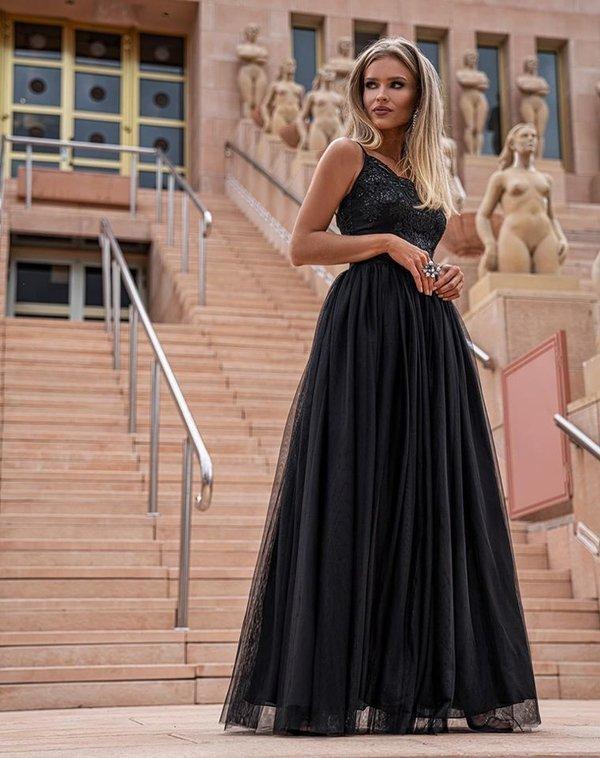 Stella - długa suknia wieczorowa - czarny