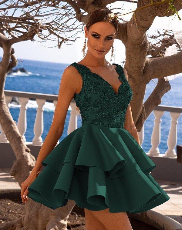 Sukienka ANA koronkowa z podwójną falbanką - zielony