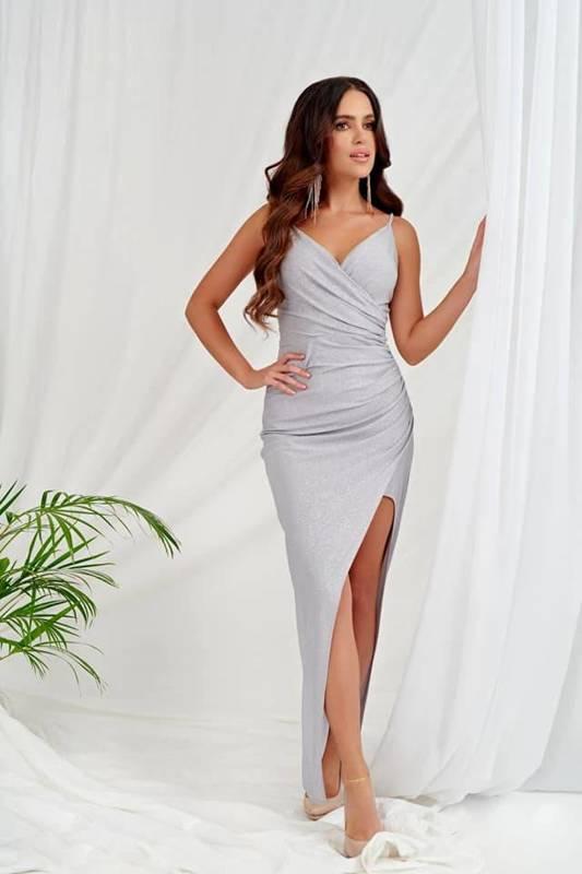 Sukienka Bella długa- szary błysk