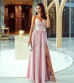 Sukienka Bella koronkowa - Pudrowy róż
