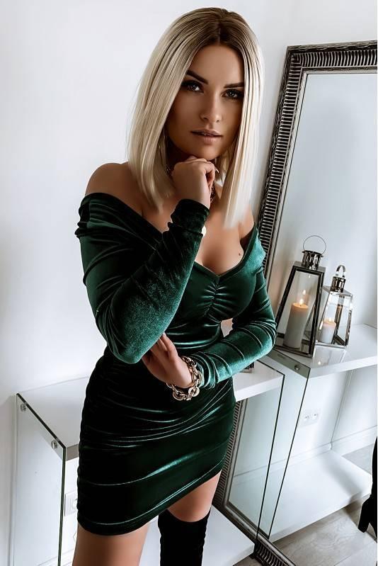 Sukienka Marszczona Emerald