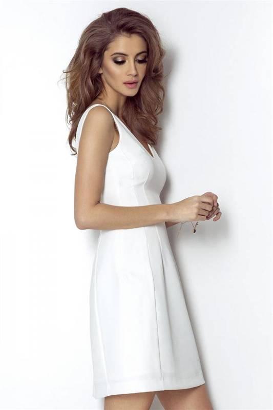 april śmietankowa klasyczna mini sukienka rozkloszowana