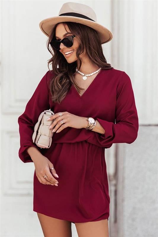 carla bordowa mini sukienka rozkloszowana do pracy z długim rękawem