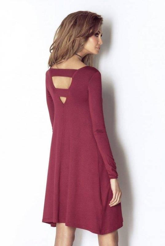 celine bordowa   sukienka  rozkloszowana  na codzień  jednokolorowa