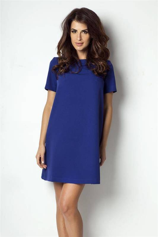 claudia krótka wizytowa niebieska sukienka rozkloszowana do pracy