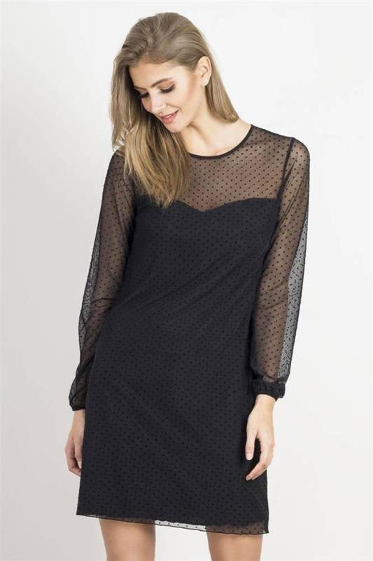 dotty mała czarna wizytowa sukienka w grochy z siateczką do pracy