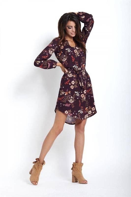 karina w kwiaty krótka bordowa sukienka rozkloszowana