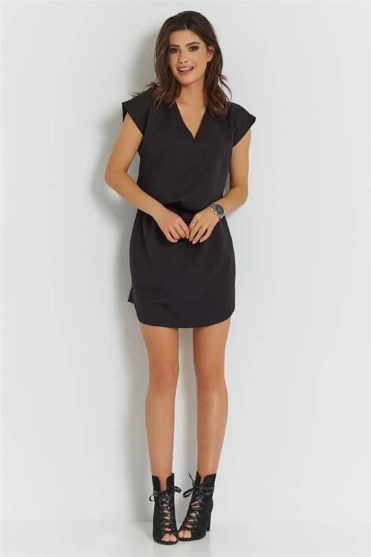 lena mała czarna sukienka boho rozkloszowana bez pleców do pracy