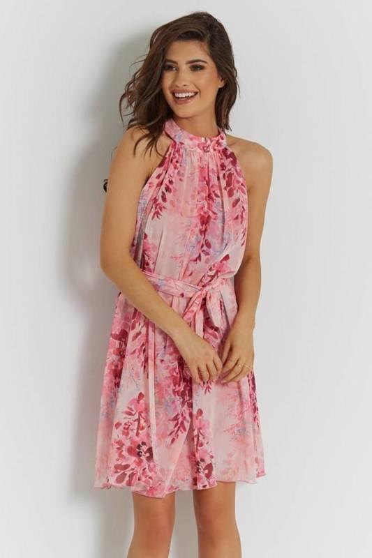 liv różowa elegancka mini sukienka rozkloszowana na wesele w kwiaty