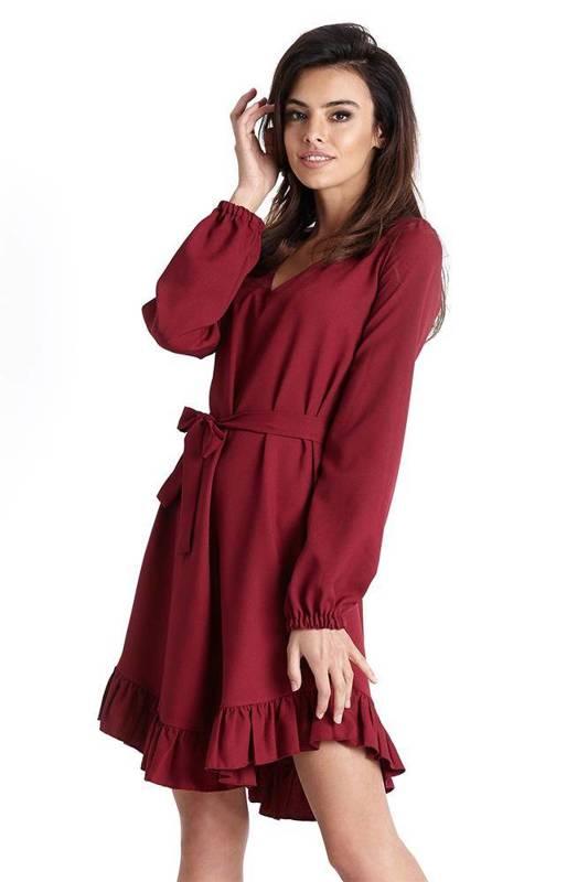 masha w stylu boho bordowa mini sukienka rozkloszowana na co dzień