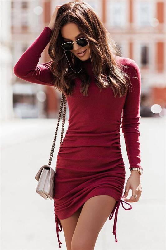 nastia bordowa elegancka mini sukienka ołówkowa