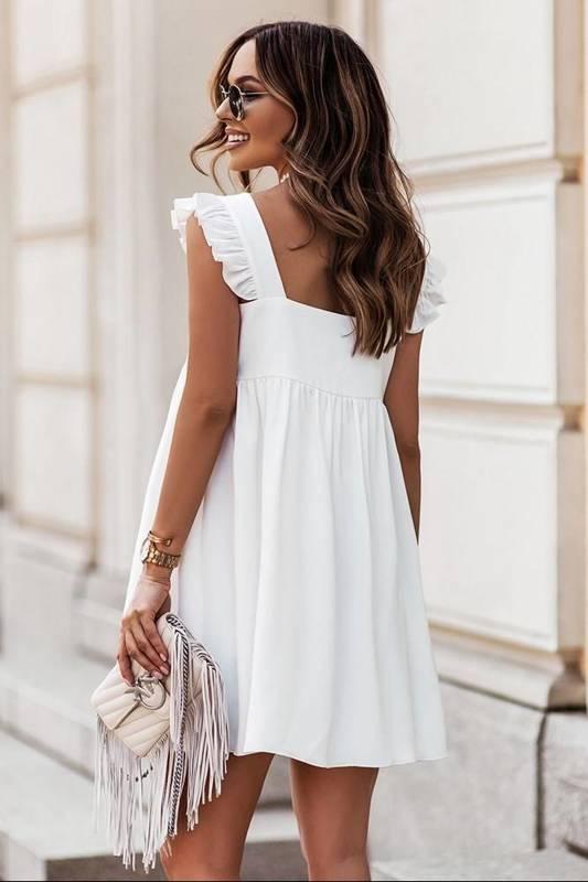 noel cream elegancka mini sukienka rozkloszowana do pracy z falbanką