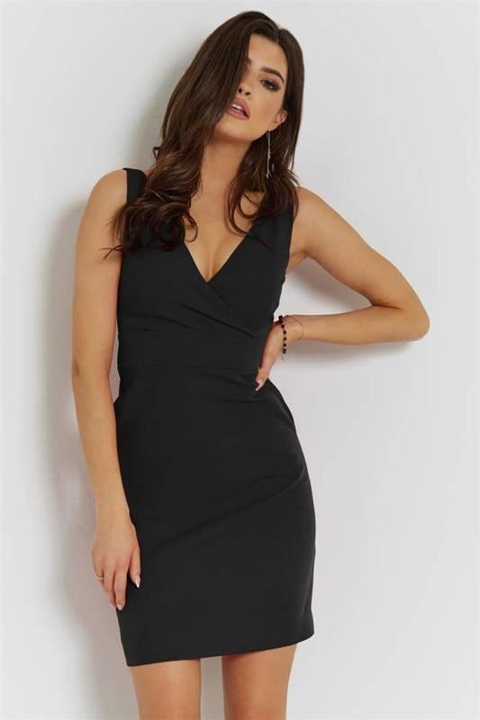 paola mała czarna   sukienka  ołówkowa  do pracy  z kieszeniami