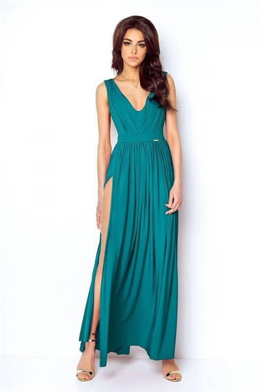 rebeca maxi wieczorowa zielona sukienka rozkloszowana na sylwestra