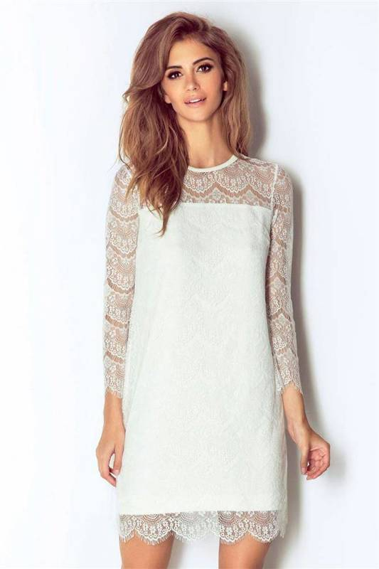 romanica krótka elegancka ecru sukienka na wesele we wzory