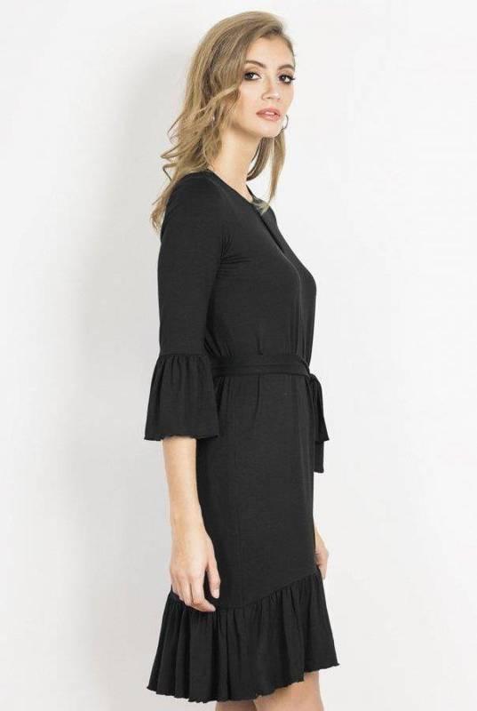 shira krótka czarna sukienka boho z falbanką na co dzień