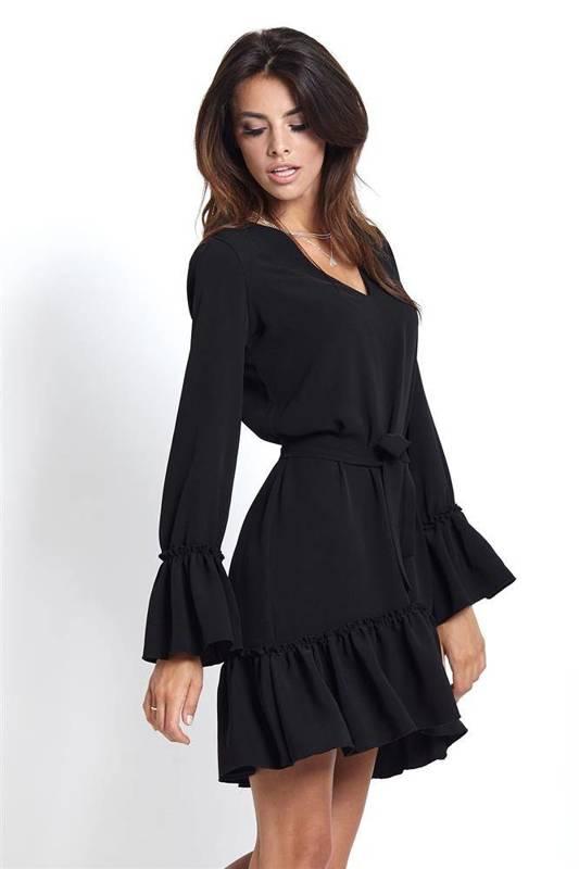 z falbaną aurelia mała czarna sukienka rozkloszowana boho