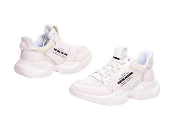 Białe skórzane sportowe buty damskie