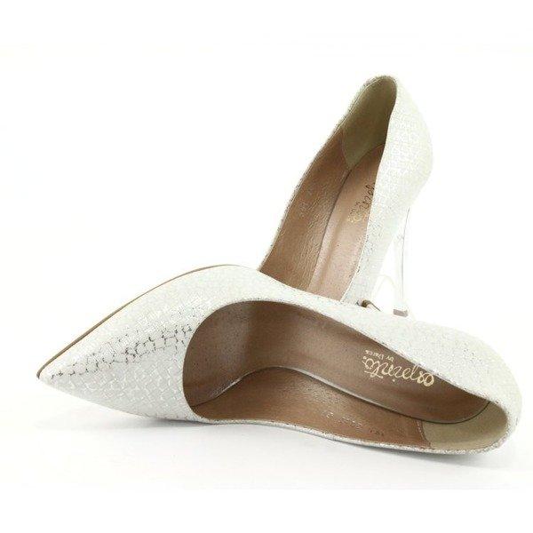 Buty skórzane damskie Szpilki ślubne C391- białe krata