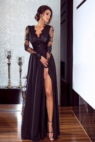 Długa Sukienka LUNA koronkowa - Czarny