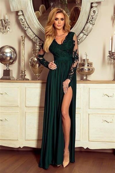 Długa Sukienka LUNA koronkowa - Zielony