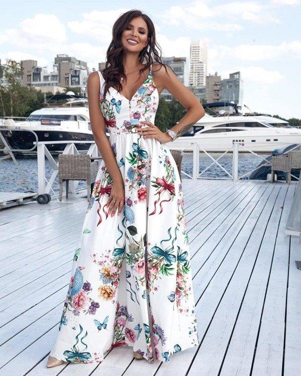 Długa Sukienka NINA  z dwoma rozporkami - biały-kwiaty