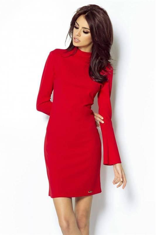 Dopasowana  giselle czerwona elegancka mini sukienka ołówkowa