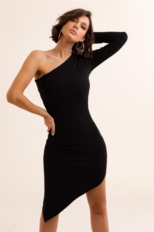 Dopasowana  serena krótka wieczorowa czarna sukienka ołówkowa