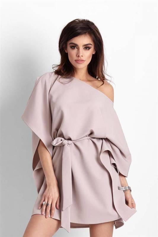 Kimonowa  lotta krótka beżowa sukienka rozkloszowana