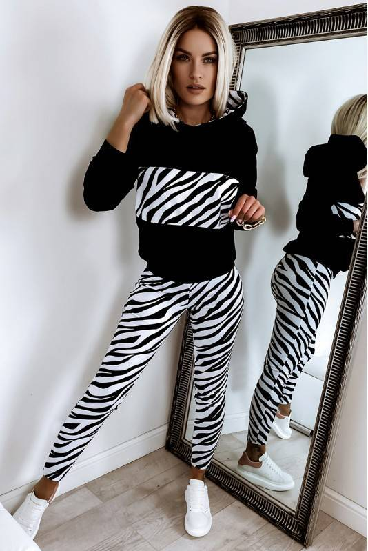 Komplet Dresowy Damski Velvet- zebra