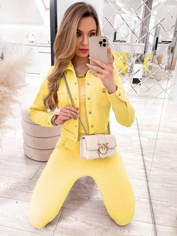 Komplet bluzka + top + spodnie - żółty