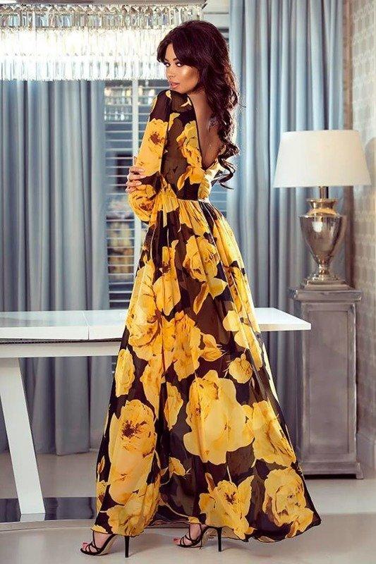 LINDA- Sukienka długa Maxi-  kwiaty zółte