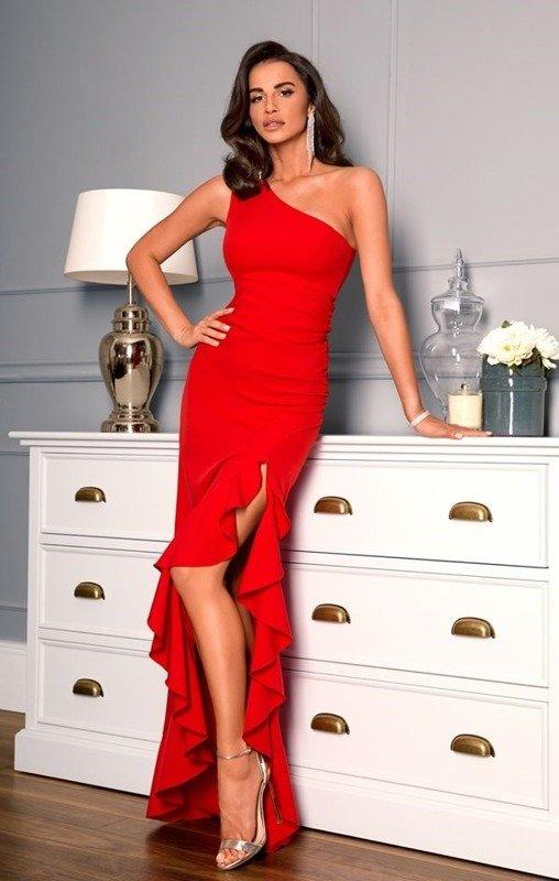 Miranda - sukienka na jedno ramię-czerwony