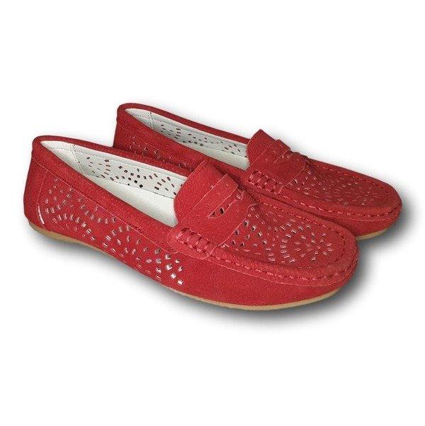 Mokasyny damskie skórzane- czerwone