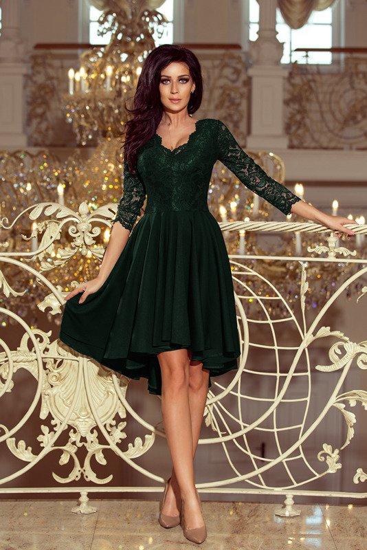 NICOLLE - sukienka z dłuższym tyłem - zielona