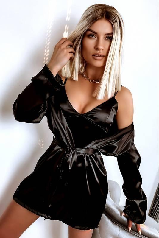 Piżama Satynowa Komplet Black