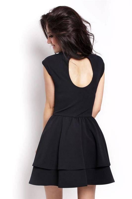 Rozkloszowana  sandra mała czarna wizytowa sukienka na imprezę