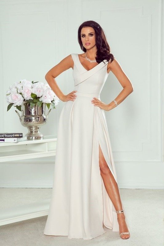 SABRINA - długa suknia- złoty beż