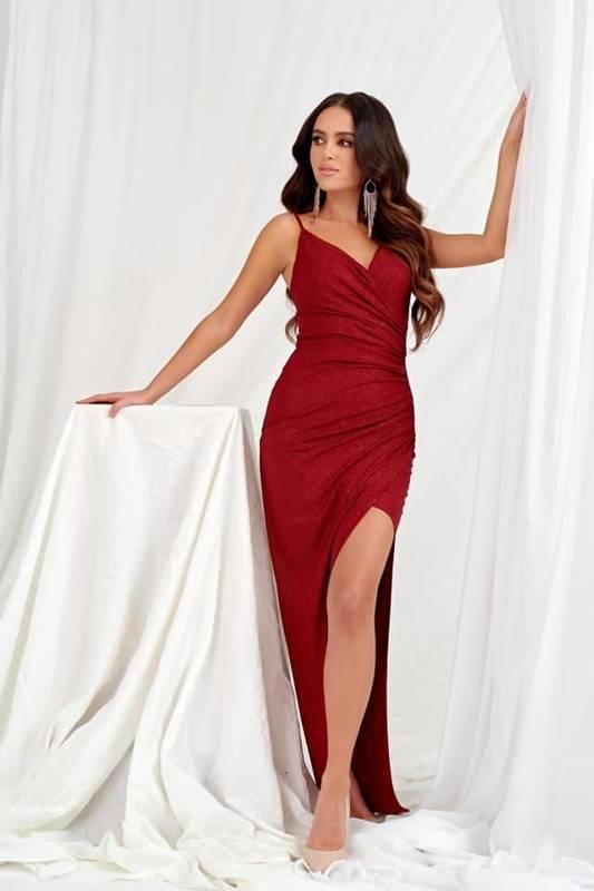Sukienka Bella długa- bordowy błysk