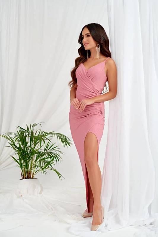 Sukienka Bella długa- różowy błysk